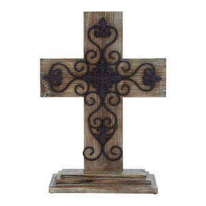 "24"" Layered Wooden & Metal Cross"