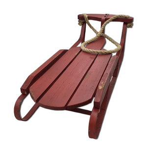 "24.5"" Long Red Wooden Sled Model"