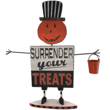 "24.5"" Wooden Pumpkin Figure ""Surrender Your Treats"""