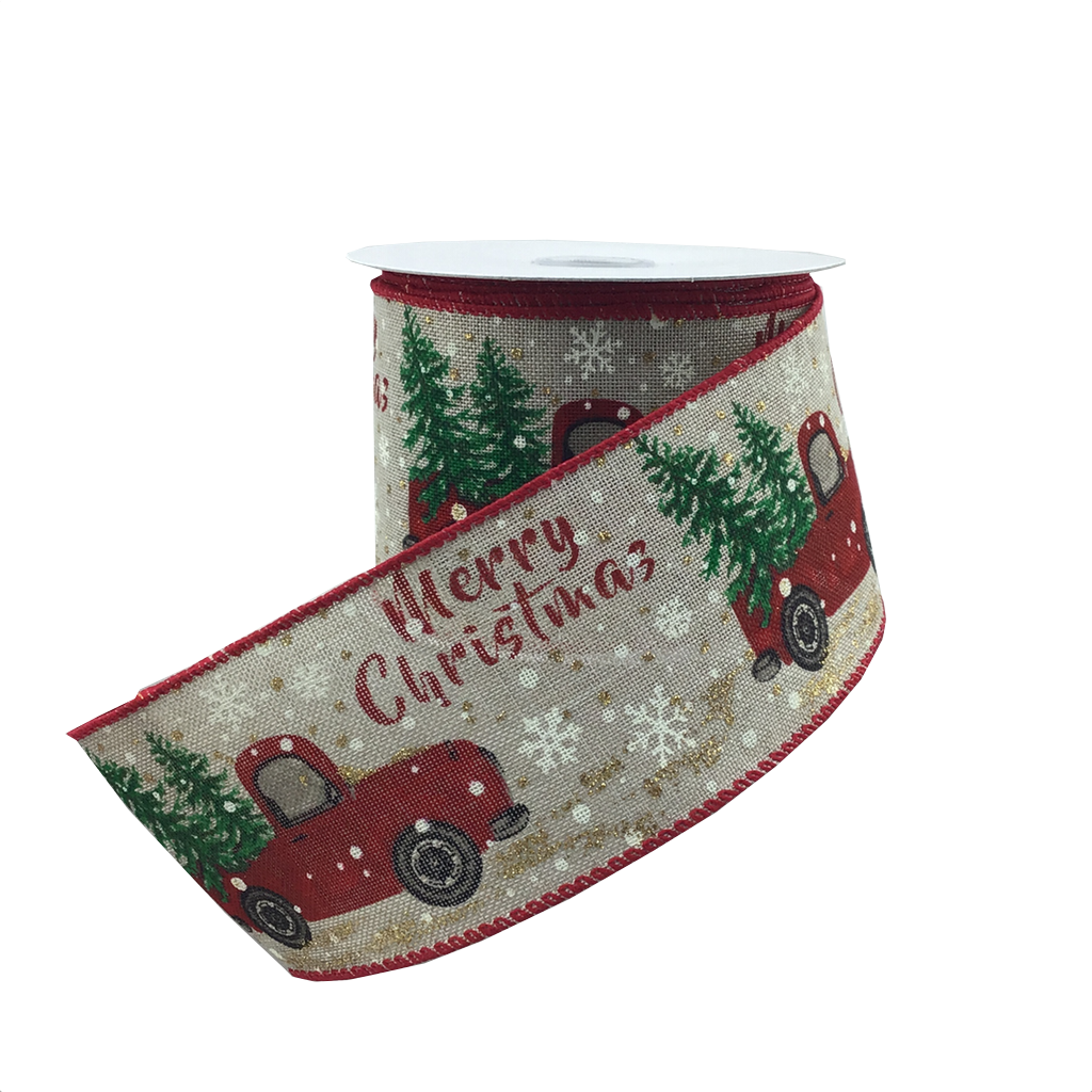 2.5 Inch 10 Yard Merry Christmas Ribbon With Red Truck And Christmas Trees