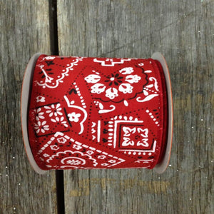 "2.5"" x 10 YDS Bandana Print Ribbon - Red/White"