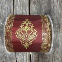 "2.5"" x 10 YDS Burgandy Demask Ribbon With Glitter Accents"