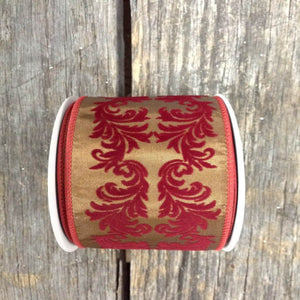"2.5"" x 10 YDS Chocolate With Burgundy Scroll Ribbon"