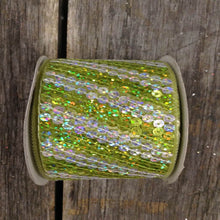 "2.5"" x 10 YDS Diagonal Striped Sequined Ribbon - Citrus/Silver"