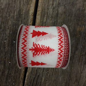 "2.5"" x 10 YDS Faux Stitched Christmas Tree Ribbon - White With Red"