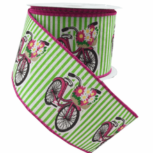 "2.5"" x 10 YDS Green/White Stripe with Spring Bicycle Ribbon"
