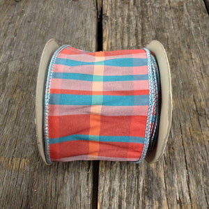 "2.5"" x 10 YDS Hipnautic Rose/Turquoise Checkered Ribbon"