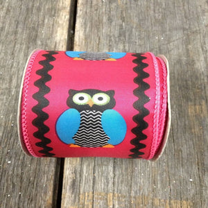 "2.5"" x 10 YDS Hot Pink Owl Ribbon With Black Outer Design"