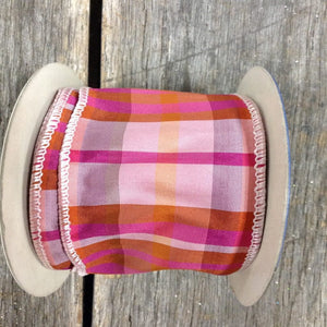 "2.5"" x 10 YDS Hypnotic Fuchsia/Pink Plaid Ribbon"