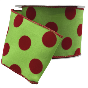 "2.5"" x 10 YDS Lime & Red Polka Dot Ribbon"