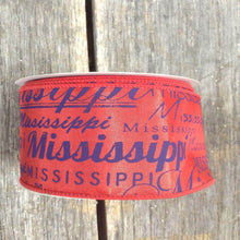 "2.5"" x 10 YDS Mississippi Script Ribbon - Red & Blue"