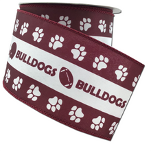 "2.5"" x 10 YDS MSU Bulldogs Ribbon- Burgundy & White"