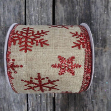 "2.5"" x 10 YDS Natural Burlap Ribbon With Red Glitter Snowflakes"
