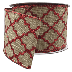 "2.5"" x 10 YDS Natural Burlap Ribbon With Red Lattice Glitter"