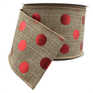 "2.5"" x 10 YDS Natural Burlap With Red Foil Dots"