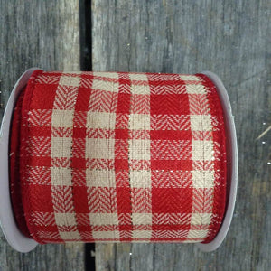 "2.5"" x 10 YDS Natural & Red Plaid Ribbon"