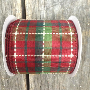 "2.5"" x 10 YDS Plaid Ribbon - Deep Red, Emerald, Lime & White"