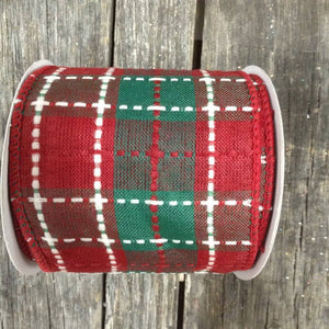 "2.5"" x 10 YDS Plaid Ribbon - Deep Red, Emerald, & White"