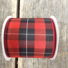 "2.5"" x 10 YDS Red and Black Plaid Ribbon"