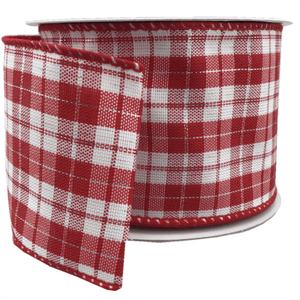 "2.5"" x 10 YDS Red and White Plaid Ribbon"