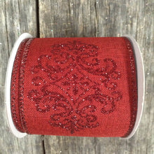 "2.5"" x 10 YDS Red Canvas With Red Glitter Demask Ribbon"