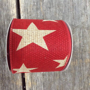 "2.5"" x 10 YDS Red Linen Ribbon With Large Stars"