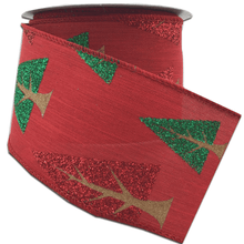 "2.5"" x 10 YDS Red Linen Ribbon With Red/Green Glitter Trees"