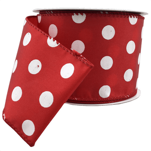 "2.5"" x 10 YDS Red Satin w/ White Polka Dots Ribbon"