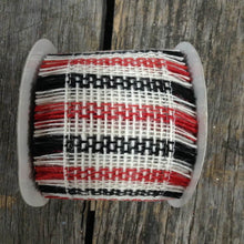 "2.5"" x 10 YDS Red/Black/White Frayed Edge Ribbon"