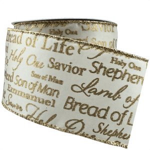 "2.5"" x 10 YDS Religious Gold Scipt Ribbon - Cream"