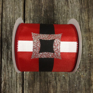 "2.5"" x 10 YDS Santa's Belt Ribbon - Red & Silver"