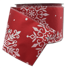 "2.5"" x 10 YDS Snowflake Print Ribbon With Glitter Accents - Red"