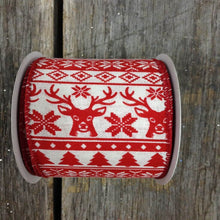 "2.5"" x 10 YDS Stitched Lodge Ribbon - Red"