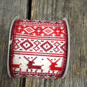 "2.5"" x 10 YDS Sweater Material Ribbon With Reindeer & Snowflakes"