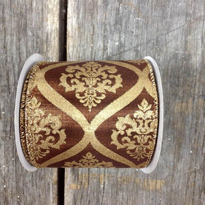 "2.5"" x 10 YDS Wired Demask Design Ribbon - Brown & Gold"