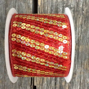 "2.5"" x 10 YDS Wired Sheer Sequin Ribbon - Red/Gold"