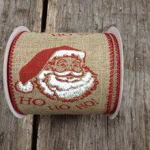 "2.5"" x 10 YDS Wired Vintage Santa Ribbon - Natural Burlap"