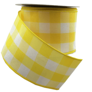 "2.5"" x 10 YDS Yellow/White Gingham Linen Ribbon"