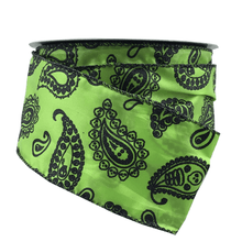 "2.5"" x 25 YDS Green Paisley Lime Skull & Ghost Ribbon"