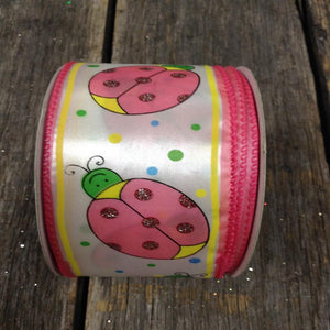 "2.5"" x 25 YDS Ladybug Ribbon With Polka Dots"