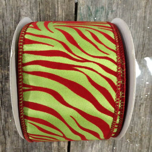"2.5"" x 25 YDS Zebra Stripe Ribbon - Red/Lime"