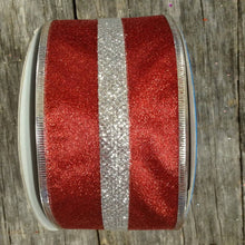 "2.5"" x 50 YDS Fairview Christmas Ribbon - Red/Silver"