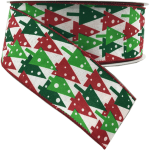 "2.5"" x 50 YDS Red/Emerald/Lime Print Tree Ribbon"