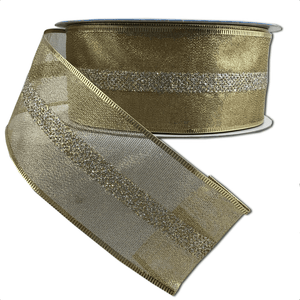 "2.5"" x 50 YDS Wired Christmas Ribbon - Fairview Gold"
