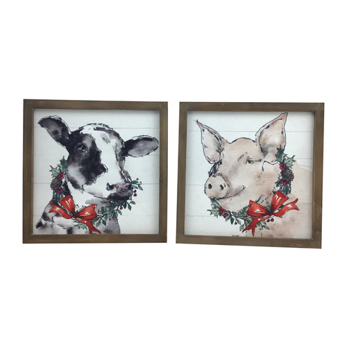 13 Inch Framed Wooden Pig or Cow Canvas Design