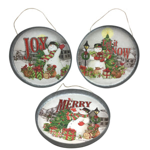 12 Metal Holiday Snowman Tray or Wall Hanger 3 Styles