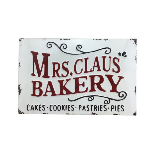 14 Inch x 9 Inch Metal Mrs Claus Bakery Sign
