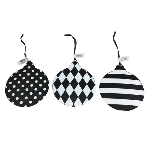 8 Inch Metal Black and White Ornament in 3 Styles