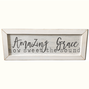 "25.5"" White Wooden Frame Amazing Grace Wall Art"