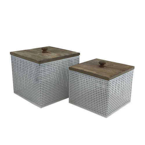 Metal Wood White Canister Set Of 2 Pieces